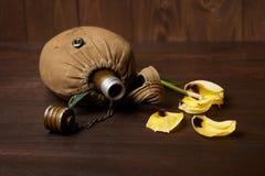 Ruban vieux flacon du ` s de soldat et ` s de St George sur le fond en bois, la fleur jaune, le concept commémoratif de la deuxiè photo stock