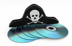 Rubando CD - concetto di pirateria di dati Immagini Stock
