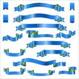 Rubans bleus réglés avec le gradient, illustration de vecteur Images libres de droits