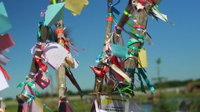 Rubans colorés balançant sur l'arbre du désir banque de vidéos