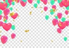 Rubans colorés de ballon et de drapeau de confettis au-dessus du mur blanc de tuile, illustration de vecteur
