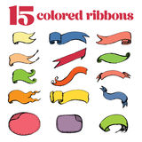 15 rubans colorés, dessin de main Photo stock
