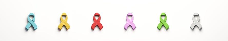 Rubans de conscience de Cancer réglés de couleurs l'illustration 3d rendent illustration stock