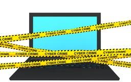 rubans de l'ordinateur portable 3d et du crime de cyber Images libres de droits
