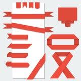 Rubans de papier rouges de vecteur Photographie stock