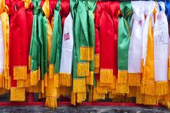 Rubans de prière de Taoist dans le lac Tai Wuxi China Image libre de droits