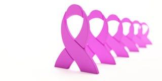 Rubans de rose de conscience de Cancer dans une rangée l'illustration 3d rendent illustration stock