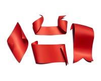 Rubans et illustration de papier rouges de vecteur de drapeaux illustration libre de droits