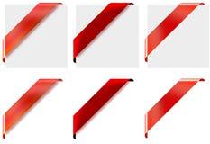 3 rubans faisants le coin rouges de style différent Images libres de droits