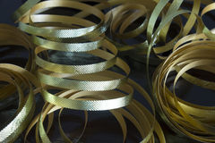 Rubans métalliques d'or Photo stock
