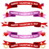 Rubans ou bannières de jour de Valentine s réglés Photo stock
