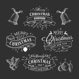 Rubans peu précis de Noël sur le tableau noir Photo libre de droits