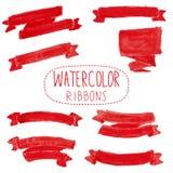 Rubans rouges d'aquarelle Photo stock