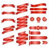Rubans rouges d'isolement sur le fond de whte, illustration de vecteur, conception graphique Photos libres de droits