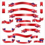 Rubans rouges réglés avec le gradient, illustration de vecteur Photos libres de droits