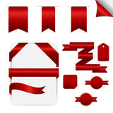 Rubans rouges réglés, d'isolement sur le fond blanc Photos libres de droits