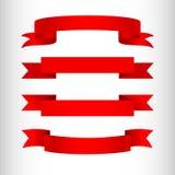 Rubans rouges sur un élément d'isolement par fond clair de conception d'annoncer des affiches de bannières un ensemble de rubans  illustration stock