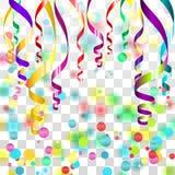 Rubans serpentins colorés avec la poussière d'or sur le fond à carreaux transparent Illustration de vecteur Images stock