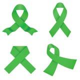 Rubans verts de conscience sur un fond blanc Illustration Libre de Droits