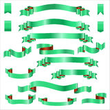 Rubans verts réglés avec le gradient, illustration de vecteur Images stock