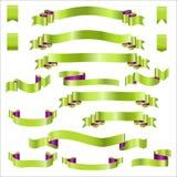 Rubans verts réglés avec le gradient, illustration de vecteur Images libres de droits