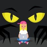 Rubare l'illustrazione concettuale di dati Grande spiare degli occhi di giallo è royalty illustrazione gratis