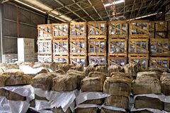 Rubber Bales in Warehouse Stock Photography