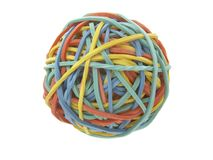 Rubber ball colorful. Close up of colorful rubber band ball on white background, with clipping path Stock Photo