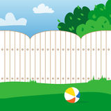 Rubber ball and grass field. House backyard. Playing ball inside the fence. Vector  illustrations Royalty Free Stock Photos