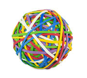 Rubber ball. Out of many colorful elastic bands on white background Royalty Free Stock Photo