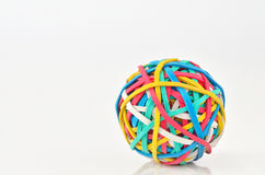Rubber Band Ball. Shoot on white background Royalty Free Stock Photos