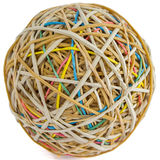 Rubber Band Ball. Ball rubber bands. rubber bands have red, green, yellow, blue, brown colors Stock Image