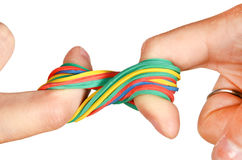 Rubber band and hand royalty free stock images