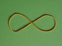 Rubber band infinity sign. Rubber band as an infinity symbol over green background royalty free stock images