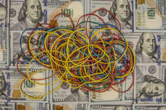 Rubber bands on a background of  money Royalty Free Stock Photography