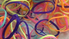 Rubber Bands, Office Supplies. Stock video of rubber bands stock footage
