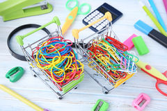 Rubber bands and paperclips Stock Images