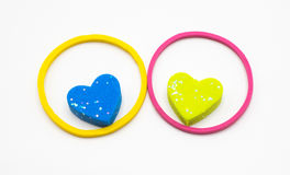 Rubber bands with small heart shape inside Royalty Free Stock Photo