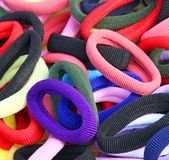 Rubber bands to decorate the hair of girls Royalty Free Stock Image