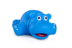 Rubber bath toys, blue hippo Stock Images