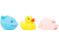 Rubber bath toys isolated on white background Stock Photo