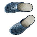 Rubber blue slippers isolated on white background. Stock Images