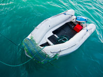 Rubber boat. Floating in the sea Stock Images
