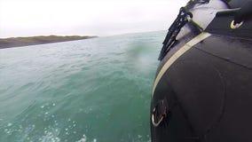 Rubber boat adventure in a glacier sea stock video