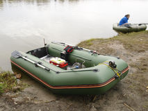 Rubber boat with gear for fishing, close up Royalty Free Stock Images