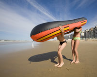 Rubber boat with legs Royalty Free Stock Photos