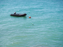 Rubber boat in the sea Stock Photography