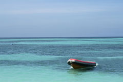 Rubber boat on the sea Royalty Free Stock Photos