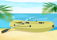 Rubber boat on the sea shore Royalty Free Stock Image