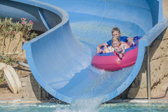 Rubber boat in a waterslide, image 1 Royalty Free Stock Image